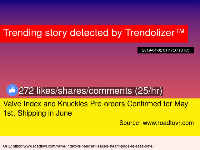Valve Index and Knuckles Pre-orders Confirmed for May 1st