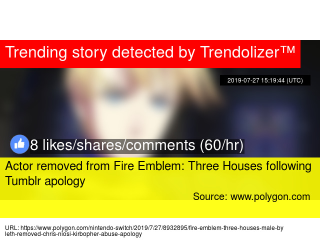 Actor removed from Fire Emblem: Three Houses following