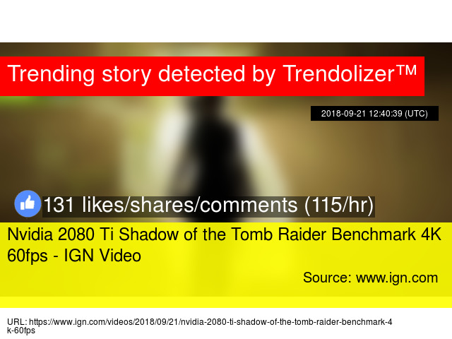 Nvidia 2080 Ti Shadow of the Tomb Raider Benchmark 4K 60fps - IGN Video